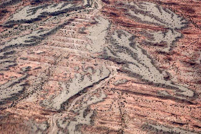 Dakar Rally - 2018 Peru-Bolivia-Argentina Dakar rally - 40th Dakar Edition stage twelve, Chilecito to San Juan - January 18, 2018 - Dried water courses are seen in from a helicopter. Picture taken on January 18, 2018. REUTERS/Andres Stapff