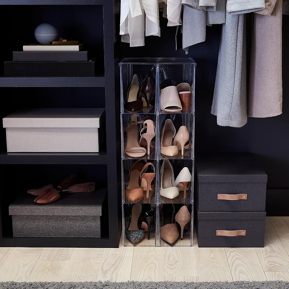 """<p>Have tons of high heels and no where to put them? Us too . . . so get this <a href=""""https://www.popsugar.com/buy/Premium-Stackable-Tall-Shoe-Bin-480440?p_name=Premium%20Stackable%20Tall%20Shoe%20Bin&retailer=containerstore.com&pid=480440&price=20&evar1=casa%3Aus&evar9=46502982&evar98=https%3A%2F%2Fwww.popsugar.com%2Fhome%2Fphoto-gallery%2F46502982%2Fimage%2F46503095%2FPremium-Stackable-Tall-Shoe-Bin&list1=shopping%2Corganizing%2Cfurniture%2Cbedrooms%2Csmall%20space%20living%2Chome%20organization&prop13=api&pdata=1"""" rel=""""nofollow"""" data-shoppable-link=""""1"""" target=""""_blank"""" class=""""ga-track"""" data-ga-category=""""Related"""" data-ga-label=""""https://www.containerstore.com/s/closet/shoe-storage/premium-stackable-tall-shoe-bin/12d?productId=11003516"""" data-ga-action=""""In-Line Links"""">Premium Stackable Tall Shoe Bin</a> ($20).</p>"""