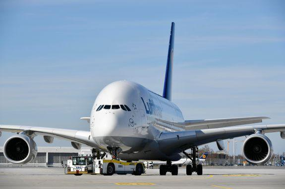 An Airbus A380, the world's largest passenger airliner