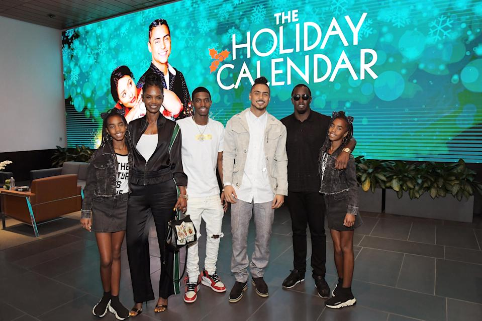 Diddy and Porter on Oct. 30 with Christian Combs, Quincy Brown, D'Lila Star Combs and Jessie James Combs at<em> The Holiday Calendar</em> screening in L.A. (Photo: Charley Gallay/Getty Images for Netflix)