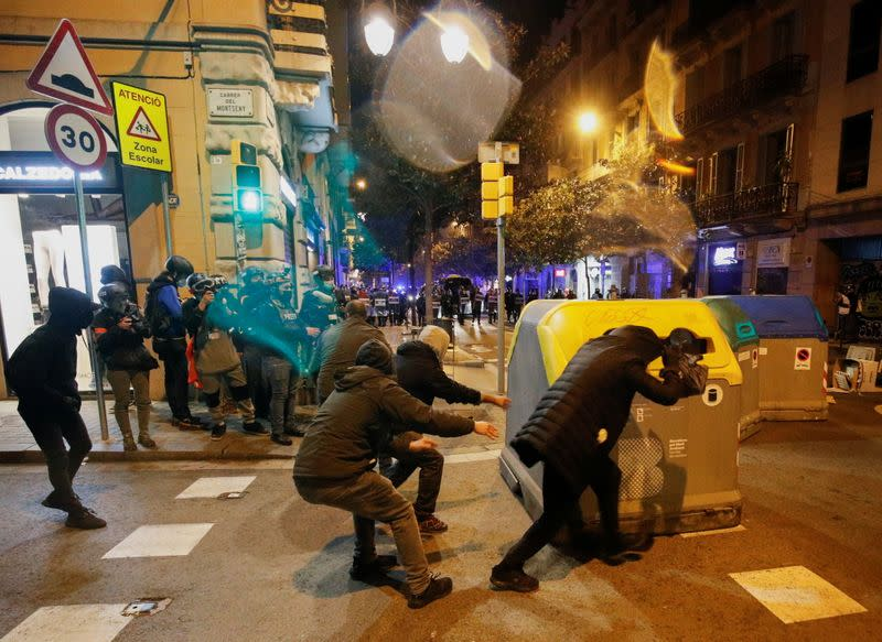 Supporters of Catalan rapper Pablo Hasel protest in Barcelona