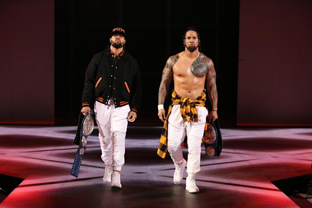 WWE Smackdown Live Tag Team Champions Jimmy and Jey Uso walk to the ring. (Photo courtesy of WWE)