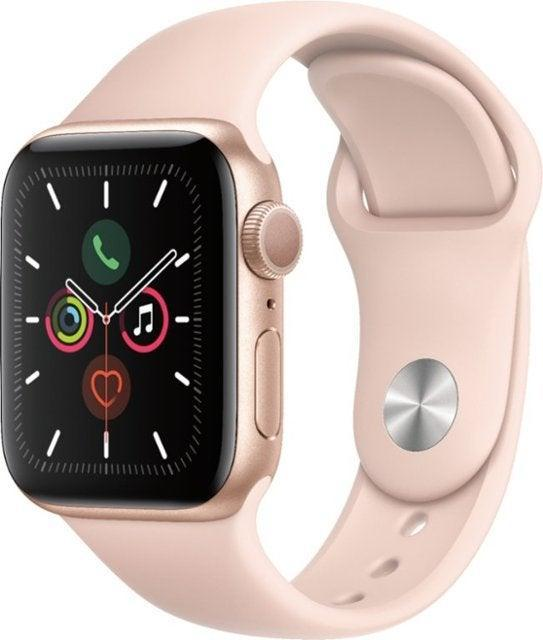 """<h2>Apple Watch Deals <br></h2><br><strong><a href=""""https://amzn.to/2KD6TZj"""" rel=""""nofollow noopener"""" target=""""_blank"""" data-ylk=""""slk:Top Amazon Deal"""" class=""""link rapid-noclick-resp"""">Top Amazon Deal</a>:</strong> 10% off Apple Watch Series 6 (GPS + Cellular)<br><br><strong><a href=""""https://fave.co/35Xh0jz"""" rel=""""nofollow noopener"""" target=""""_blank"""" data-ylk=""""slk:Top Best Buy Deal"""" class=""""link rapid-noclick-resp"""">Top Best Buy Deal</a>:</strong> 25% off Apple Watch Series 5 (GPS)<br><br><strong><a href=""""https://fave.co/2J53BwO"""" rel=""""nofollow noopener"""" target=""""_blank"""" data-ylk=""""slk:Top Walmart Deal"""" class=""""link rapid-noclick-resp"""">Top Walmart Deal</a>:</strong> 17% off Apple Watch Series 6 (GPS)<br><br><strong>Apple</strong> Watch Series 5 with Pink Sand Sport Band, $, available at <a href=""""https://go.skimresources.com/?id=30283X879131&url=https%3A%2F%2Ffave.co%2F35Xh0jz"""" rel=""""nofollow noopener"""" target=""""_blank"""" data-ylk=""""slk:Best Buy"""" class=""""link rapid-noclick-resp"""">Best Buy</a>"""