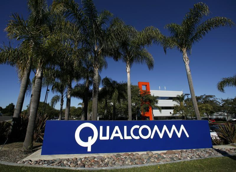 A Qualcomm sign is seen at one of Qualcomm's numerous buildings located on its San Diego Campus