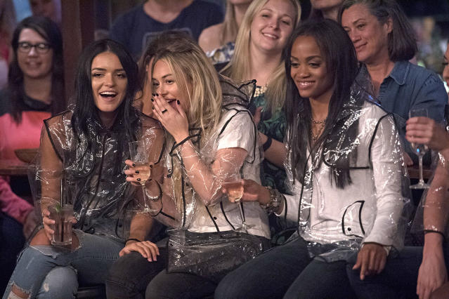 <p>Raven Gates, Corinne Olympios, and Rachel Lindsay in ABC's <i>The Bachelorette</i> <br>(Photo: Matt Brown/ABC) </p>