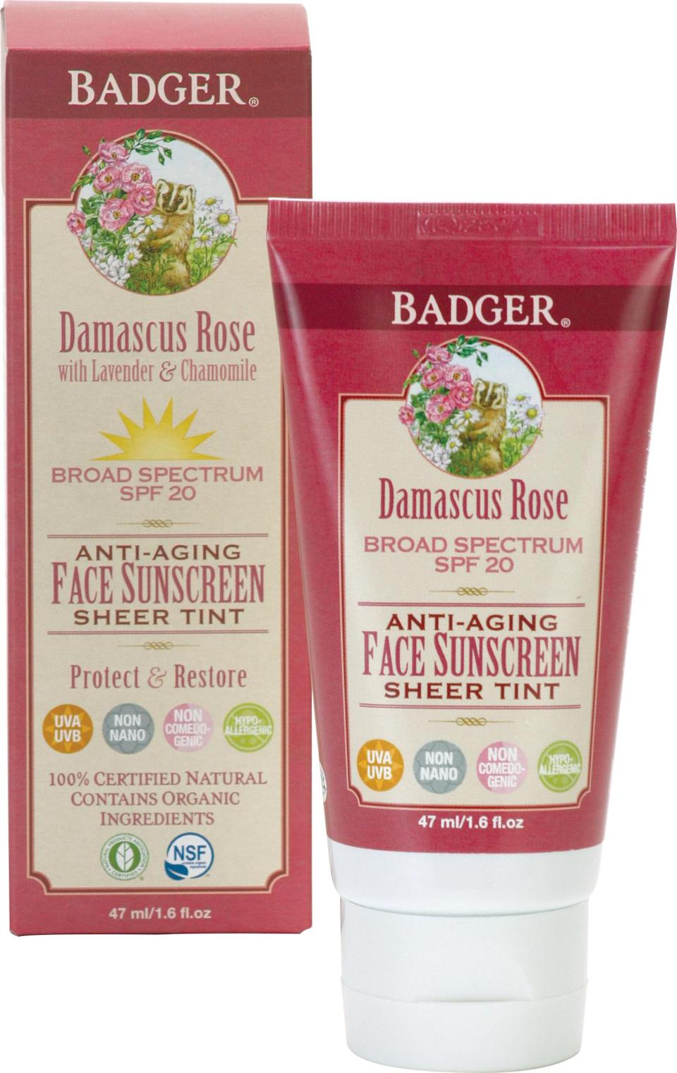 """<p><b>Active Ingredients:</b> 12% Zinc Oxide <br>With each product ranging from 87 to 98% certified organic, Badger products are ultra pure. The sunscreens pair zinc oxide with plant oils, Vitamin E, and aloe. They are also biodegradable, won't erode coral reefs, and hold up to active days of swim and sport. The only downside is that the very thick formulas can leave a bit of a whitish cast. However, their new Rose Tinted sunscreen offers an invisible matte finish. The non-comedogenic, non-nano formula is a perfect sunscreen for daily use, even underneath makeup.<br><br><a href=""""http://www.badgerbalm.com/p-566-spf-20-rose-tinted-face-sunscreen.aspx"""" rel=""""nofollow noopener"""" target=""""_blank"""" data-ylk=""""slk:Badger SPF 20 Rose Tinted Sunscreen"""" class=""""link rapid-noclick-resp"""">Badger SPF 20 Rose Tinted Sunscreen </a>($25)</p>"""