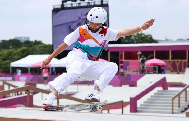PHOTO: Momiji Nishiya of Japan competes in the women's street competition on July 26, 2021, in Tokyo. (Lucy Nicholson/Reuters)