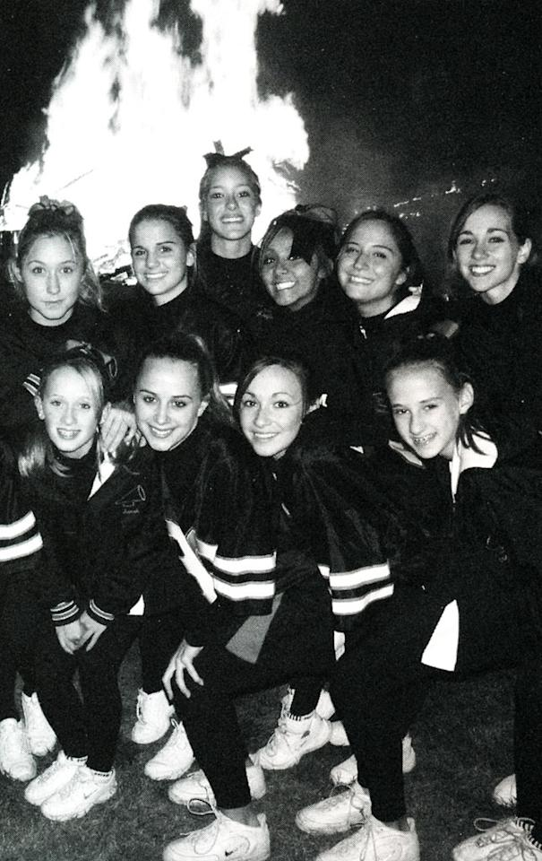 Snooki (top row, fourth from left) enjoys a bonfire with friends from Marlboro High in 2006.