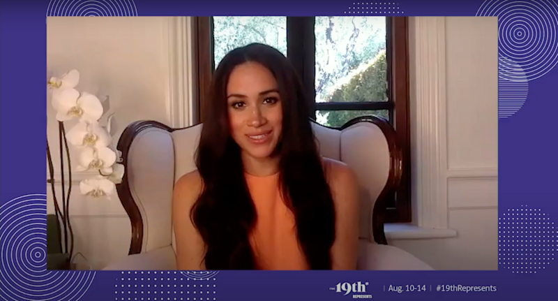 Meghan, the Duchess of Sussex spoke during The 19th Represents: On Race & Gender, a virtual panel. (Youtube/The19th)