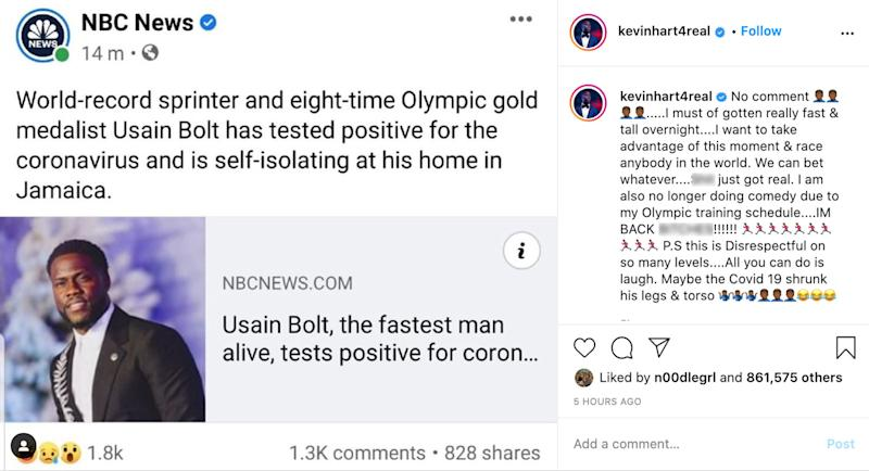 Kevin Hart calls out NBC News over Usain Bolt gaffe.