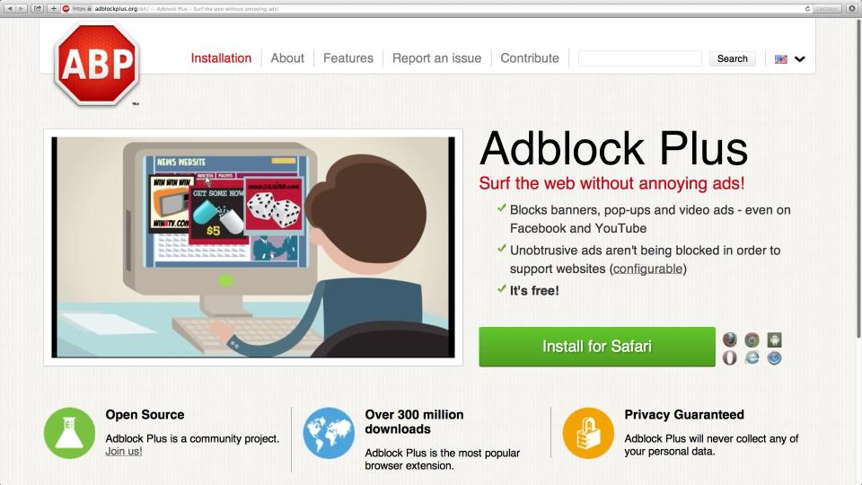 Screen shot of the Adblock Plus web page