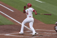 St. Louis Cardinals second baseman Edmundo Sosa hits a RBI single against the Miami Marlins during the second inning of a baseball game Monday, June 14, 2021, in St. Louis. (AP Photo/Joe Puetz)