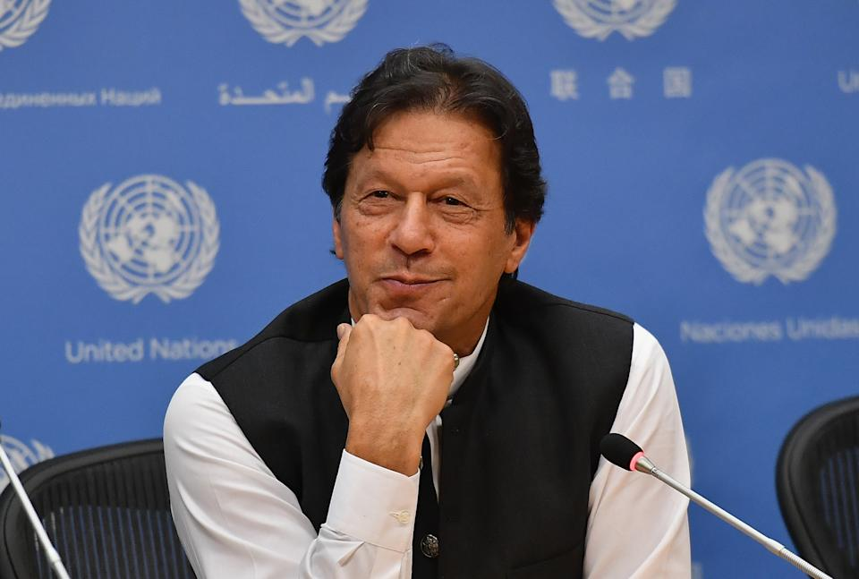 Pakistani Prime Minister Imran Khan speaks during a press conference at the United Nations Headquarters in New York on September 24, 2019. - Khan said Tuesday that both the United States and Saudi Arabia asked him to mediate with Iran to defuse tensions. (Photo by Angela Weiss / AFP)        (Photo credit should read ANGELA WEISS/AFP via Getty Images)