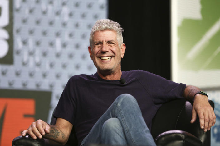"""FILE - In this Sunday, March 13, 2016, file photo Anthony Bourdain speaks during South By Southwest at the Austin Convention Center, in Austin, Texas. The revelation that a documentary filmmaker used voice-cloning software to make the late chef Bourdain say words he never spoke has drawn criticism amid ethical concerns about use of the powerful technology. The movie """"Roadrunner: A Film About Anthony Bourdain"""" appeared in cinemas Friday, July 16, 2021, and mostly features real footage of the beloved celebrity chef and globe-trotting television host before he died in 2018. (Photo by Rich Fury/Invision/AP, File)"""