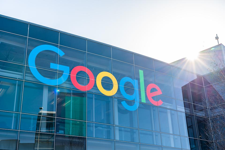 Google logo seen at Googleplex, the corporate headquarters complex of Google and its parent company Alphabet Inc. in Mountain View, Calif. (Alex Tai/SOPA Images/LightRocket via Getty Images)