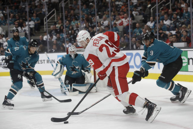 Detroit Red Wings left wing Brendan Perlini (29) skates against the San Jose Sharks during the second period of an NHL hockey game in San Jose, Calif., Saturday, Nov. 16, 2019. (AP Photo/Jeff Chiu)