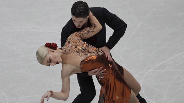 Canada's Piper Gilles and Paul Poirier perform their ice dance rhythm dance during the ISU World Figure Skating Championships at Saitama Super Arena in Saitama, north of Tokyo on March 22, 2019. The world figure skating championships in Montreal have been cancelled because of the spread of COVID-19. The championships were scheduled to run March 18-22 at the Bell Centre. It is the latest sporting event that has been wiped out by the novel coronavirus. The world women's hockey championship, which was scheduled to start later this month in Nova Scotia, was cancelled on Saturday. THE CANADIAN PRESS/AP, Andy Wong