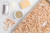 """<p>People might start comparing you to the Barefoot Contessa herself when you show up to a party with this seemingly gourmet snack. Nobody needs to know you didn't grate the parmesan yourself (bottled totally works here). Or that it took you minutes to throw together.</p><p>Get the recipe from <a href=""""https://www.delish.com/cooking/recipes/a44060/rosemary-parmesan-pumpkin-seeds-recipe/"""" rel=""""nofollow noopener"""" target=""""_blank"""" data-ylk=""""slk:Delish"""" class=""""link rapid-noclick-resp"""">Delish</a>.</p>"""