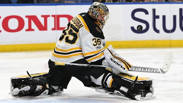Anton Khudobin has bounced around quite a bit over the past five seasons, but he seems to play his best when wearing the black and gold. (AP)