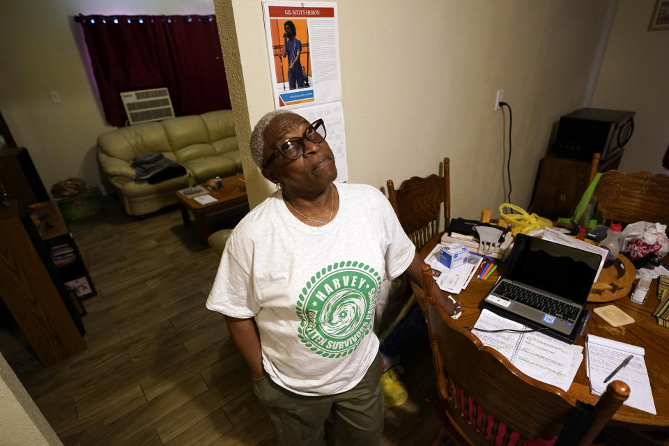 HOLD FOR MOVEMENT WITH STORY BY JUAN LOZANO—Doris Brown answers a question during an interview inside her home Friday, July 31, 2020, in Houston. Brown's home flooded during Harvey and she's part of a group called the Harvey Forgotten Survivors Caucus. (AP Photo/David J. Phillip)