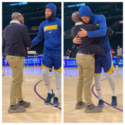 'Andre Ricks photographed on the court chatting with Stephen Curry before the game against the Lakers at the Staples Center' (PRNewsfoto/Andre Ricks)