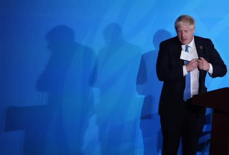 British Prime Minister Boris Johnson finishes speaking during the 2019 United Nations Climate Action Summit at U.N. headquarters in New York City, New York, U.S.