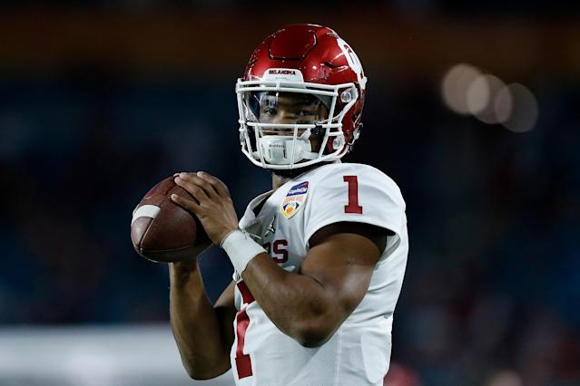 Heisman Trophy winner Kyler Murray would have a chance of leading Oklahoma to a national title in 2019 if he returned for his senior year. (Getty Images)