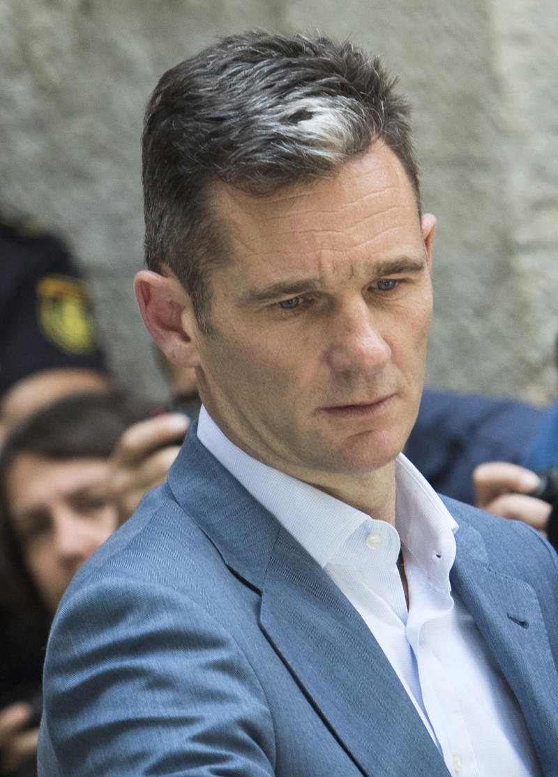 Former Olympic handball player and husband of Spain's Princess Cristina, Inaki Urdangarin leaves the courthouse in Palma de Mallorca, on the Spanish Balearic Island of Mallorca on June 13, 2018. - The Spanish king's brother-in-law was sentenced on appeal to five years and 10 months in jail on June 12, 2018 for embezzling millions of euros, the Supreme Court said, in a sensational case that shamed the royals. The 50-year-old will now go to jail unless he makes a successful final appeal to the Constitutional Court -- a possibility regarded as unlikely. (Photo by JAIME REINA / AFP) (Photo credit should read JAIME REINA/AFP via Getty Images)