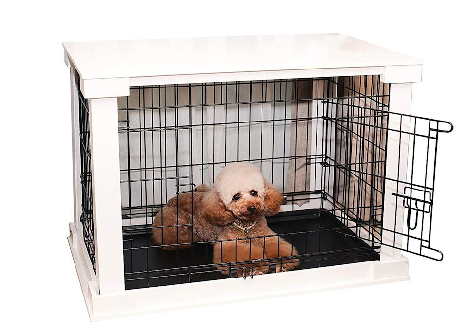 """<p>This simple <a href=""""https://www.popsugar.com/buy/Zoovilla%20White%20Cage%20With%20Crate%20Cover-434013?p_name=Zoovilla%20White%20Cage%20With%20Crate%20Cover&retailer=amazon.com&price=210&evar1=moms%3Aus&evar9=46016697&evar98=https%3A%2F%2Fwww.popsugar.com%2Ffamily%2Fphoto-gallery%2F46016697%2Fimage%2F46016795%2FZoovilla-White-Cage-Crate-Cover&list1=dogs&prop13=api&pdata=1"""" rel=""""nofollow noopener"""" target=""""_blank"""" data-ylk=""""slk:Zoovilla White Cage With Crate Cover"""" class=""""link rapid-noclick-resp"""">Zoovilla White Cage With Crate Cover</a> ($210) comes in three sizes so you can get the right fit for your pet, and your home.</p>"""