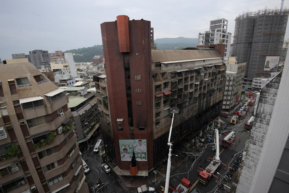 The buildings lower floors are appear completely destroyed by the fire. Source: Reuters
