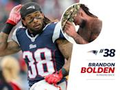 """<p>Not to be redundant, but Brandon Bolden's street style is, well, bold. The running back clearly isn't afraid of color, opting for an <a href=""""https://www.instagram.com/p/BMKk5UnDBXO/?taken-by=bbhulksmash&hl=en"""" rel=""""nofollow noopener"""" target=""""_blank"""" data-ylk=""""slk:bright red plaid suit"""" class=""""link rapid-noclick-resp"""">bright red plaid suit</a> and red leather overnight bag. Speaking of plaid, <a href=""""https://www.instagram.com/p/BAn3Kc5rWfF/?taken-by=bbhulksmash&hl=en"""" rel=""""nofollow noopener"""" target=""""_blank"""" data-ylk=""""slk:Bolden's family"""" class=""""link rapid-noclick-resp"""">Bolden's family</a> seems to have a thing for the print, but we're not mad about it. </p>"""
