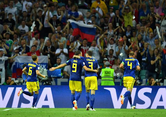 Soccer Football - World Cup - Group F - Germany vs Sweden - Fisht Stadium, Sochi, Russia - June 23, 2018 Sweden's Ludwig Augustinsson, Marcus Berg, Victor Lindelof and Andreas Granqvist celebrate after Ola Toivonen (not pictured) scored their first goal REUTERS/Dylan Martinez