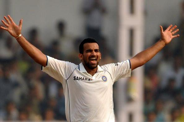 Indian cricketer Zaheer Khan celebrates