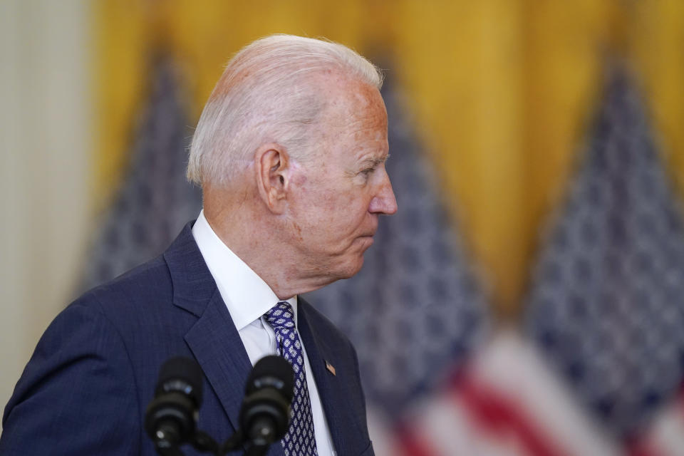 President Joe Biden leaves after speaking about the evacuation of American citizens, their families, SIV applicants and vulnerable Afghans in the East Room of the White House, Friday, Aug. 20, 2021, in Washington. (AP Photo/Manuel Balce Ceneta)