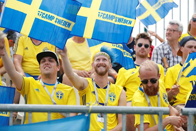 Soccer Football - World Cup - Germany Fans vs Sweden Fans - Sochi, Russia - June 23, 2018 Sweden fans REUTERS/Francois Lenoir