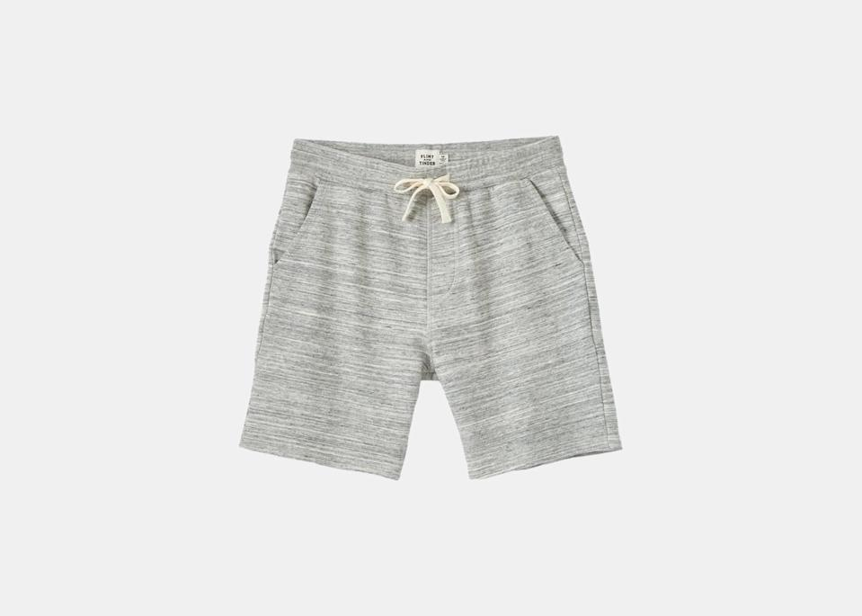 """Need a solid lounge-around-the-Airbnb short, or one you can swap for swim trunks after an afternoon in the water? These soft sweat shorts from Flint and Tinder come in a half-dozen neutral colors, are made of a super-soft loopback French terry that'll keep you cool; plus, they're pre-shrunk and have a drawstring waistband, so you can order true to size. $68, Huckberry. <a href=""""https://huckberry.com/store/flint-and-tinder/category/p/68759-french-terry-sweat-shorts"""" rel=""""nofollow noopener"""" target=""""_blank"""" data-ylk=""""slk:Get it now!"""" class=""""link rapid-noclick-resp"""">Get it now!</a>"""