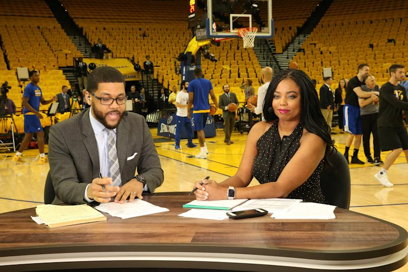Jemele Hill and her co-host Michael Smith covering the NBA Finals on June 12, 2017. (Bruce Yeung via Getty Images)