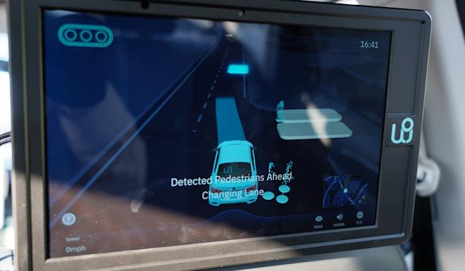 WeRide Viz, a LED pad showing the environment detected and the vehicle's decision. Photo: SCMP/ Kao Shan Shan