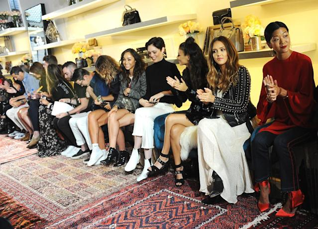 <p>Cara Santana, Coco Rocha, Victoria Justice, Jessica Alba, and Michelle Lee attend Rebecca Minkoff fashion show during New York Fashion Week at Rebecca Minkoff on September 9, 2017 in New York City. (Photo by Desiree Navarro/WireImage) </p>