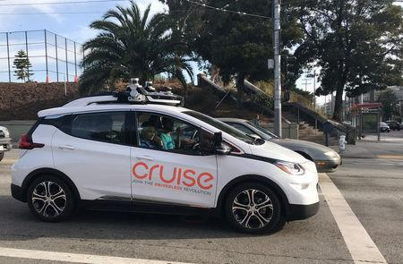 FILE PHOTO: A Cruise self-driving car, which is owned by General Motors Corp, is seen outside the company's headquarters in San Francisco where it does most of its testing, in California, U.S., September 26, 2018.  Picture taken on September 26, 2018.   REUTERS/Heather Somerville/File Photo
