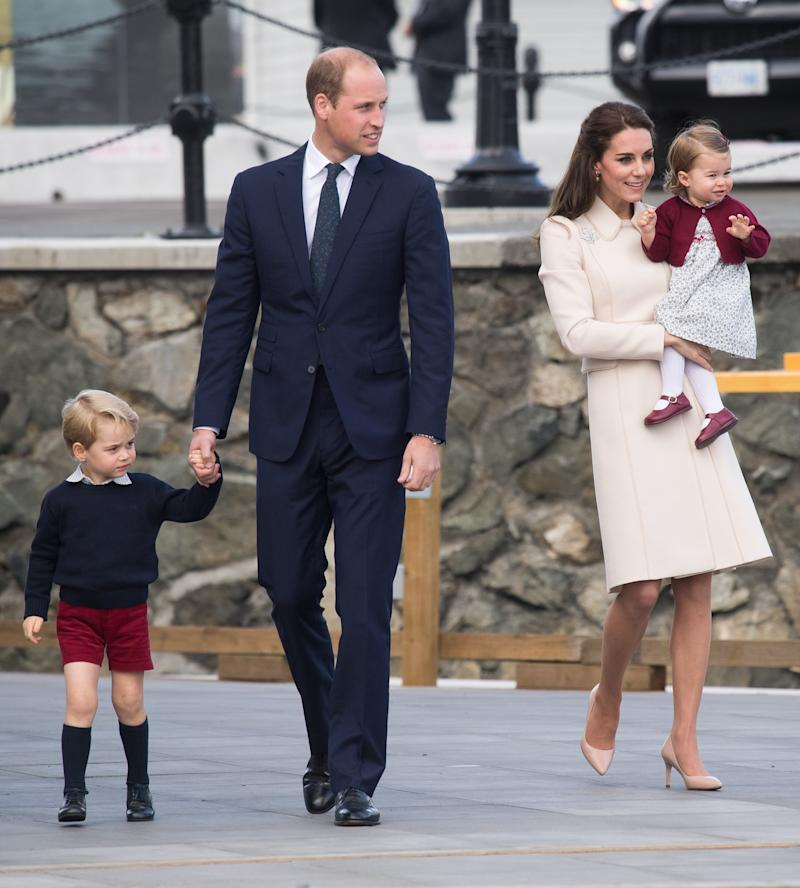 Catherine, Duchess of Cambridge, Prince William, Duke of Cambridge, Prince George of Cambridge and Princess Charlotte of Cambridge depart Victoria on October 1, 2016 in Victoria, Canada.