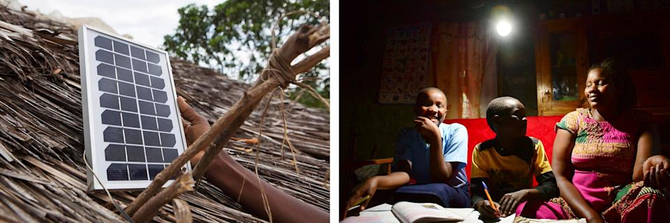 Left: A solar light is fitted onto a house near Nairobi, Kenya. Right: A family sits together under an LED bulb lit by a solar power generation kit in a rural area near Nairobi on Jan. 31, 2019. Credit: Getty Images (Photo: )