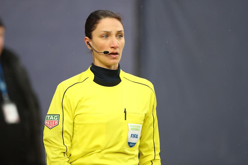 MLS assistant referee Kathryn Nesbitt will become the first woman in league history to work a championship match during Tuesday's MLS is Back Tournament final. (Tim Clayton/Getty Images)
