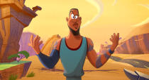 """This image released by Warner Bros. Pictures shows an animated LeBron James in a scene from """"Space Jam: A New Legacy."""" (Warner Bros. Pictures via AP)"""