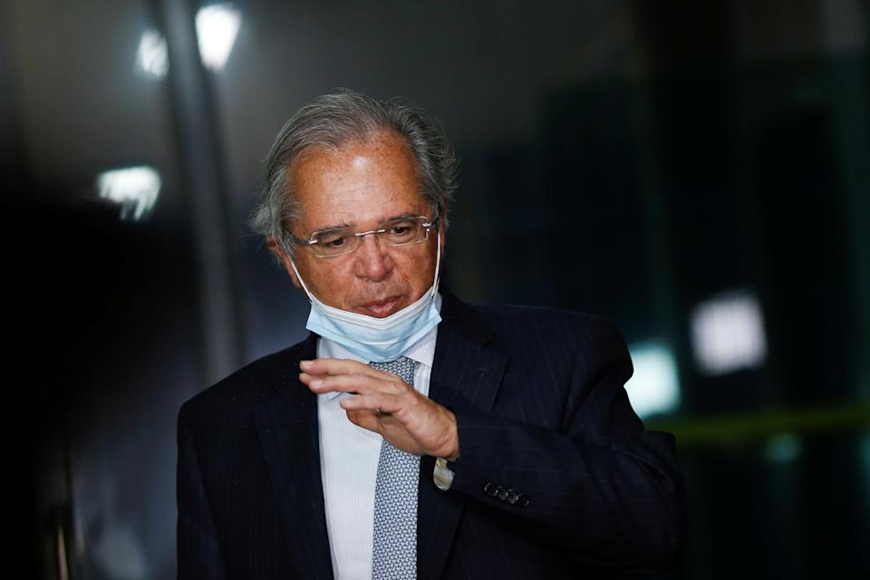 Brazil's Economy Minister Paulo Guedes gestures during a news conference in Brasilia, Brazil August 11, 2020. REUTERS/Adriano Machado
