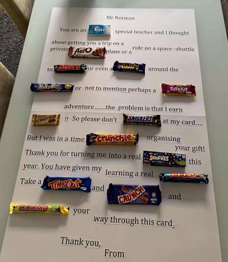 A thank you note addressed to Mr Norman. Some words are filled in with chocolate bars and lollies. It was made by a student of his.