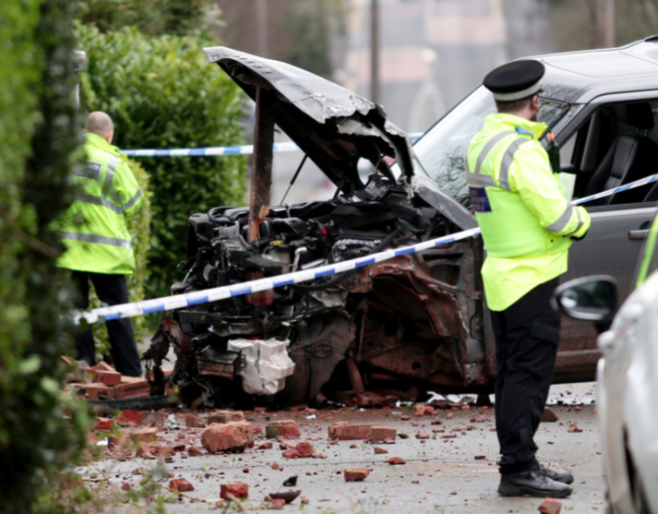 A Land Rover was found crumpled onto a wall near the scene of the stabbings (SWNS)