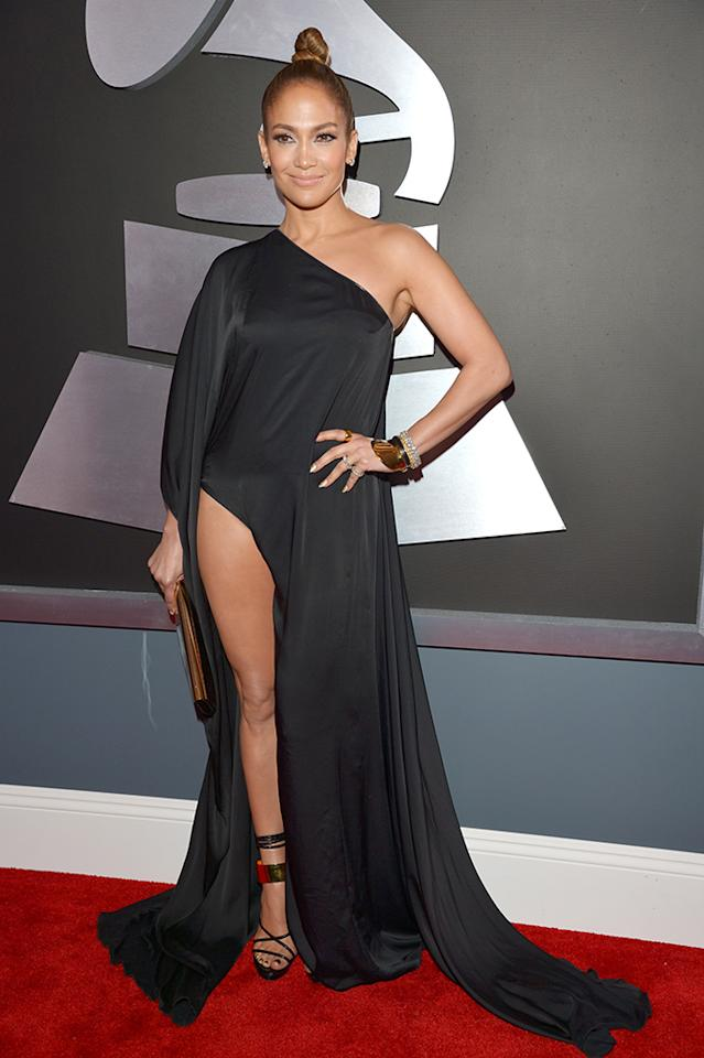 Jennifer Lopez arrives at the 55th Annual Grammy Awards at the Staples Center in Los Angeles, CA on February 10, 2013.