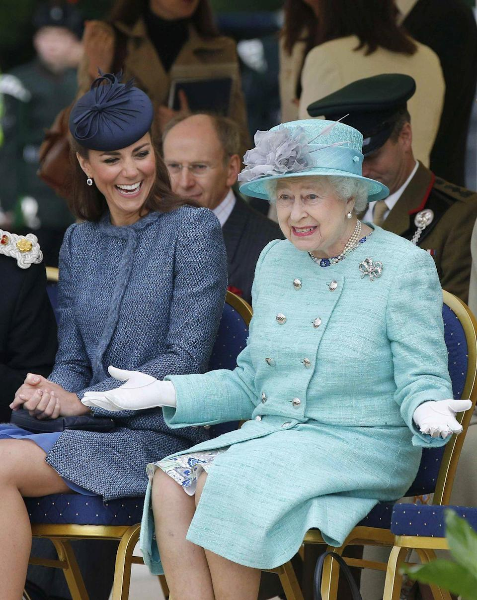 <p>We'd <em>love</em> to know what the Queen says at these events that is so funny. While visiting Nottingham in 2012, Queen Elizabeth apparently made a hilarious crack that had Kate Middleton in stitches. </p>