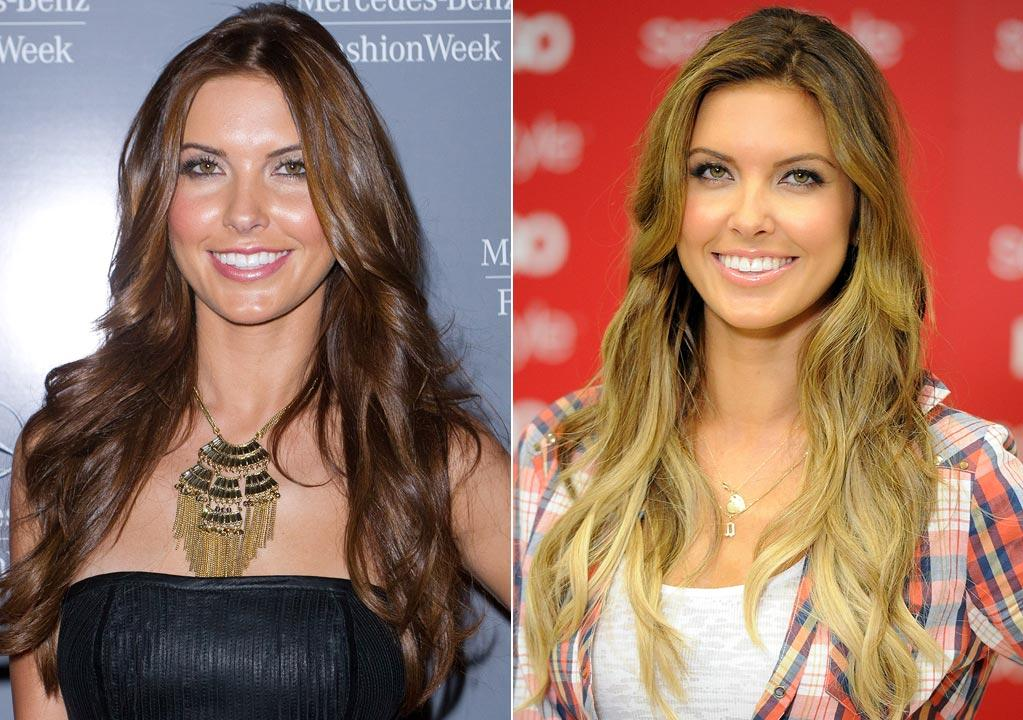 """Former """"Hills"""" hottie Audrina Patridge, 26, lightened her locks for the new season.        """"Going into fall and winter, the trend is darker hues. The darker color on Audrina brings more of a glow and makes her skin look like porcelain,"""" Eber raved.         Think the looks are hot ... or not?     John Parra/WireImage.com/Jason Merritt/Getty Imag"""
